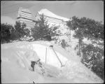 Snow telescope building, and roof of physical laboratory after snowfall, Mount Wilson Observatory.