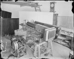 Snow telescope spectroheliograph and speed changer in the machine shop, Mount Wilson Observatory.