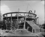 Construction of the base of the observatory dome for the 60-inch telescope, Mount Wilson...