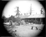 Construction of the monastery building, Mount Wilson Observatory.