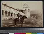 View of a man on horseback in...