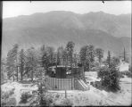 Construction of the 100-inch telescope observatory building, Mount Wilson Observatory.