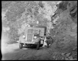 Transportation of an aluminizing tank by truck to Mount Wilson Observatory.