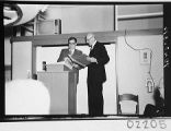 Harold Brown and Oscar G. Mayer, Jr., at the dedication of the 60-inch telescope, Palomar...