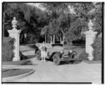 Miss Wiley with Willys-Knight car, 20 Oak Grove Avenue, Pasadena. 1924.