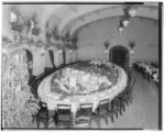 Banquet table set for Detroit and Cleveland Party at the Huntington Hotel, 1401 South Oak Knoll,...