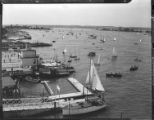 Piers and boats, Balboa Bay, Newport Beach. 1938.