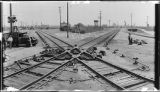 """Continuous rail"" crossing at junction of Union Pacific and Southern Pacific Railroads,..."