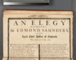 An elegy on the death of Sir Edmond Saunders, late Lord Chief Justice of England, who died the...