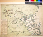 A plan of the town and harbour of Boston : and the country adjacent with the road from Boston to...