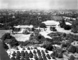 Aerial view of Huntington residence, library building, and grounds, September 1930.