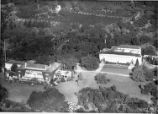 Aerial view of Huntington residence, library building, and grounds, January 1, 1937.