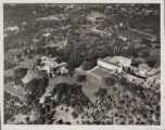 Aerial view of Huntington residence, library building, and grounds, circa 1935.