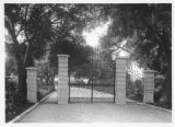 North gate to Huntington mausoleum, circa 1928.