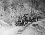 Henry E. Huntington inspecting track at Big Creek, April 7 1914.