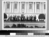 Henry E. Huntington and library staff in front of the library building, 1922.