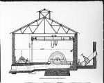 A drawing of the end section of the power house at Santa Ana River #1 Hydro Plant.