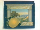 Stock label: grapefruit and orchard landscape framed with columns.