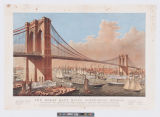 The great East River Suspension Bridge. : Connecting the cities of New York & Brooklyn - from...