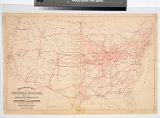 Railroad map of the United States showing through lines of communication from the Atlantic to the...