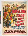 Ringling Bros free street parade greatest the world has ever seen 10 o'clock a.m. preceding first...