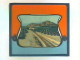 Stock label: Locomotive passing citrus groves.