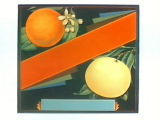 Stock label: orange and grapefruit on branches with blossoms. .