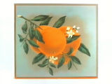 Stock label: oranges on branch with leaves and blossoms.