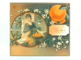 Stock label: woman holding basket of oranges on balcony.