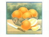 Stock label: glass bowl of oranges with knife.