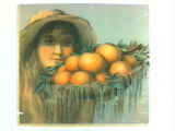 Stock label: girl in straw hat with basket of oranges.