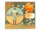 Stock label: football player with oranges and blossoms.