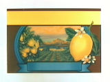 Stock label: lemons, blossoms, orchard and mountains.