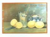 Stock label: lemons with glass of lemonade and sugar bowl.