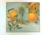 Stock label: oranges, leaves, blossoms, and vignette of palm with wishing well.