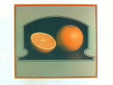 Stock label: orange and orange half on dark surface in tombstone-shaped frame.