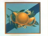 Stock label: oranges and blossoms on branch with purple sash.