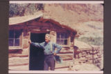 Bert Loper at his cabin at Red Canyon.