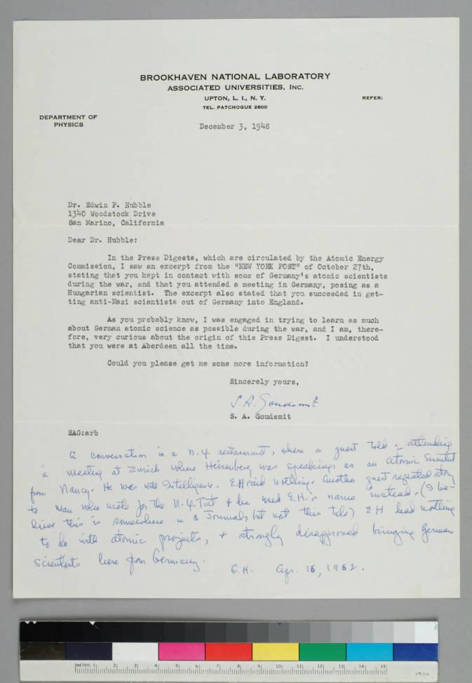 Samuel Goudsmit of the Brookhaven National Laboratory  - Manuscripts