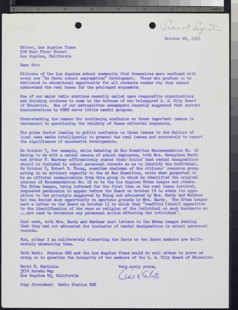 Item 3, letter to LA Times - Manuscripts - Huntington