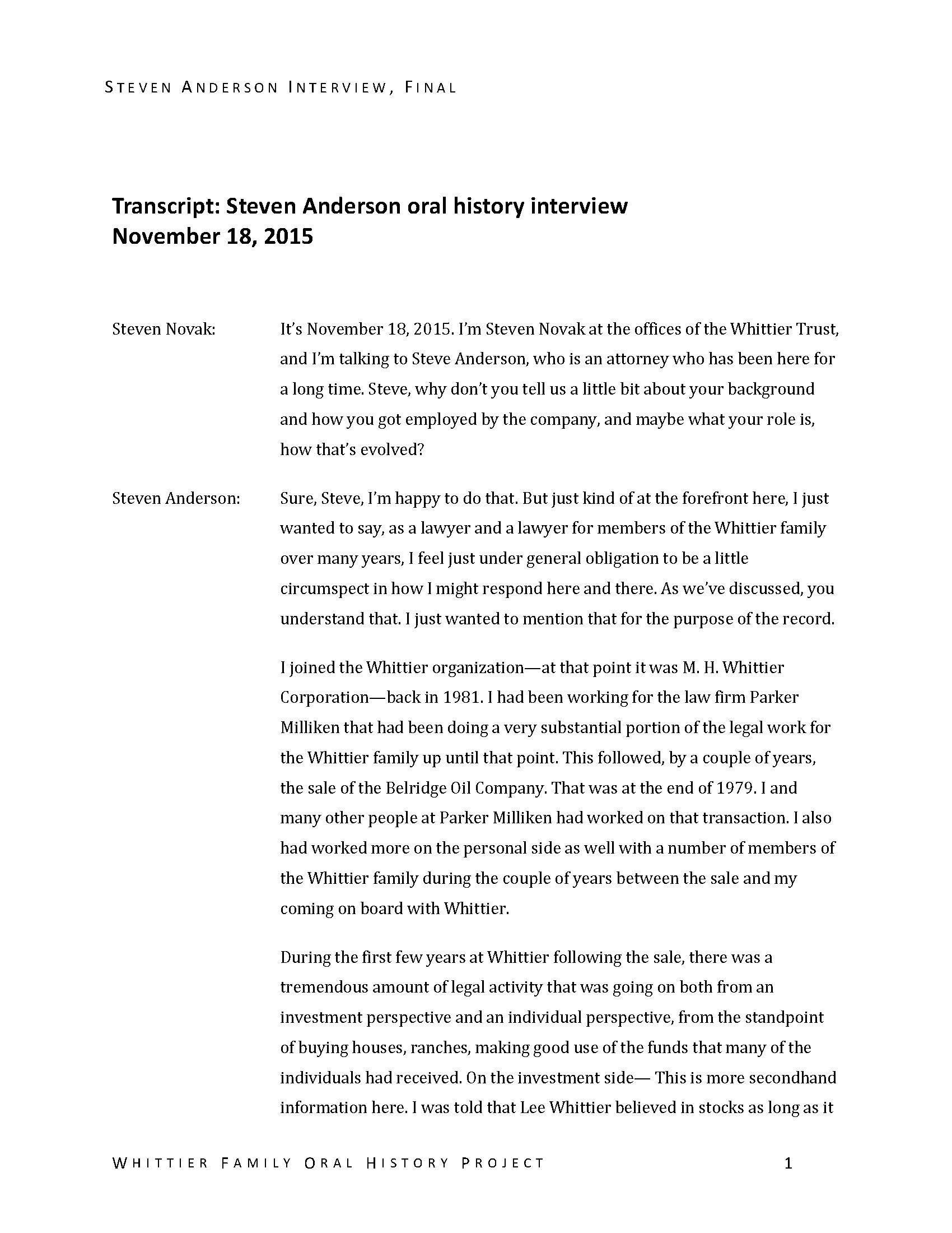 Steven Anderson oral history interview  - Manuscripts - Huntington