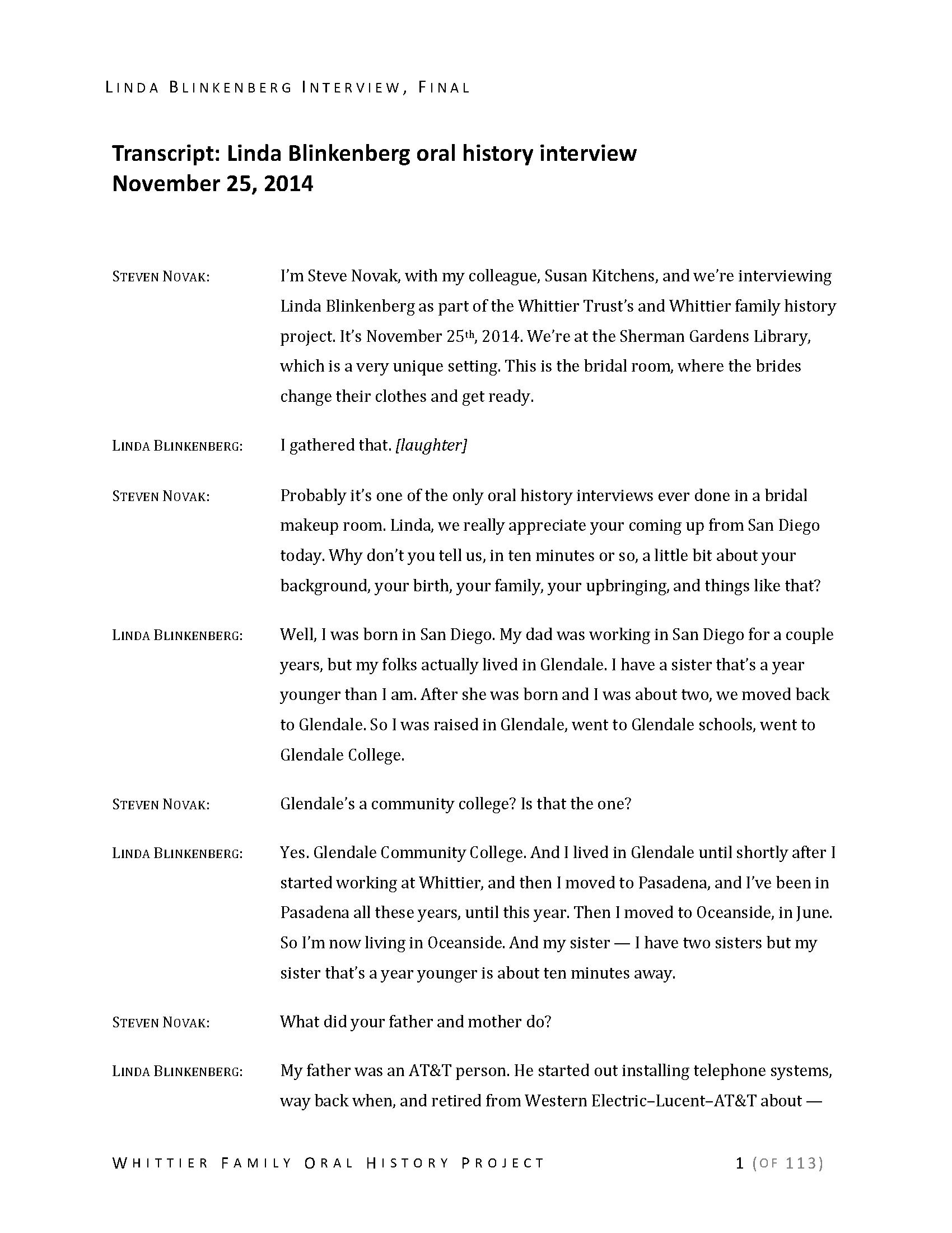 Linda Blinkenberg oral history interview  - Manuscripts - Huntington