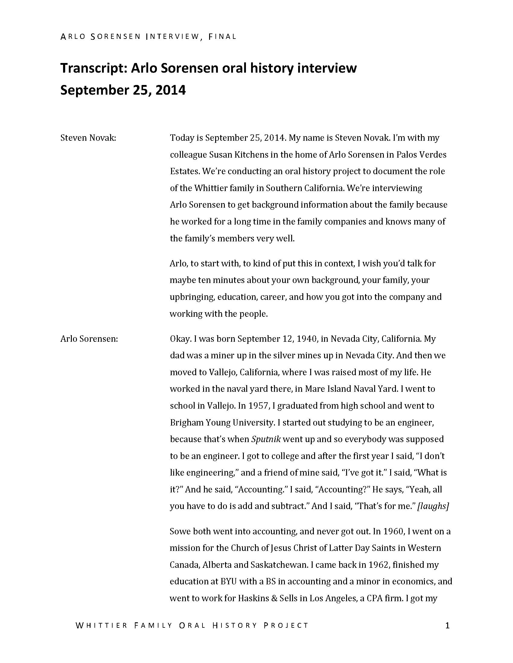 Arlo Sorensen oral history interview  - Manuscripts - Huntington